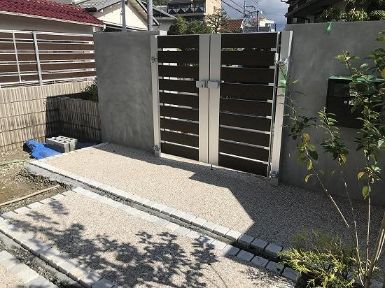 生駒市外構工事中画像です。